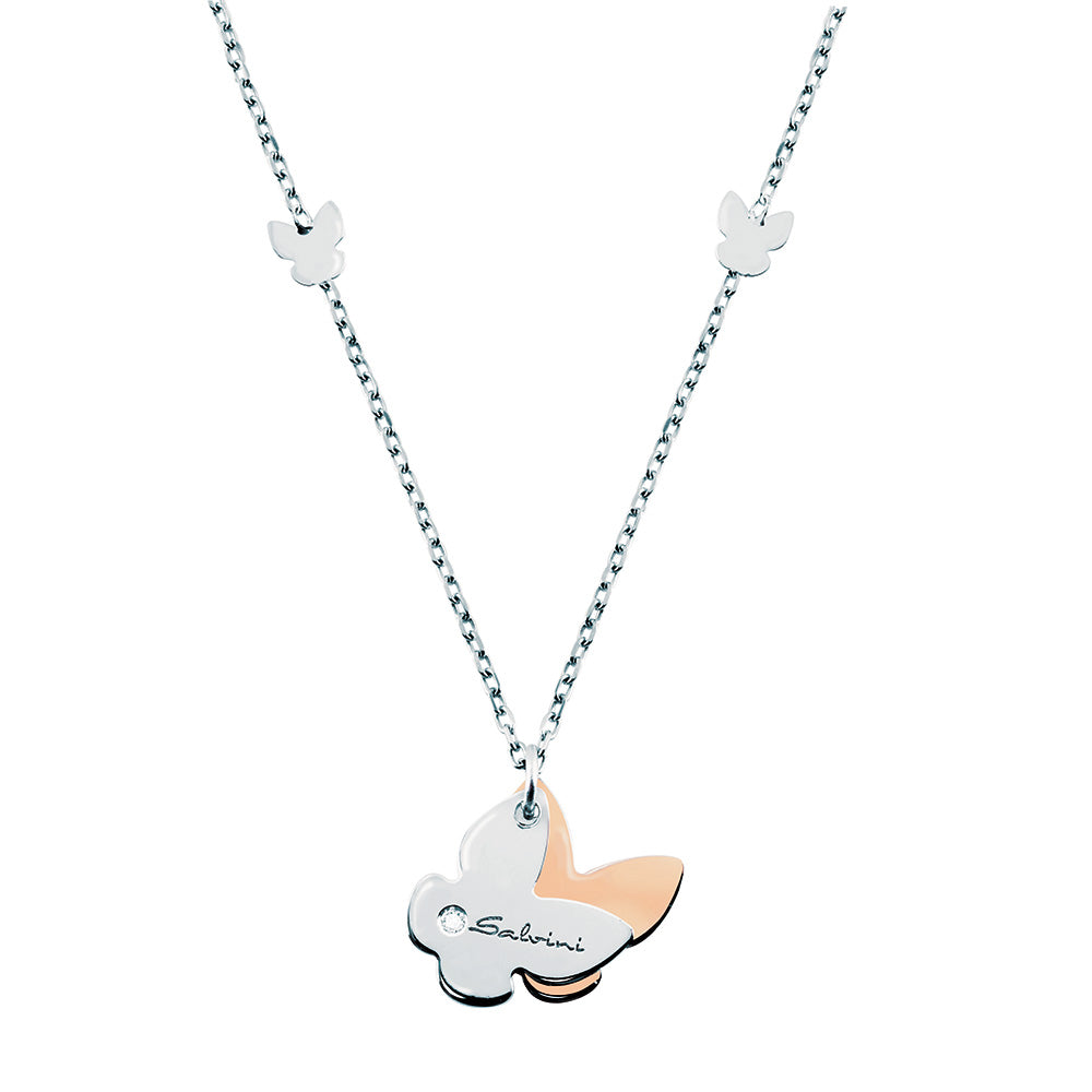 MINIMAL POP White and Rose Gold Butterfly Necklace with Diamond