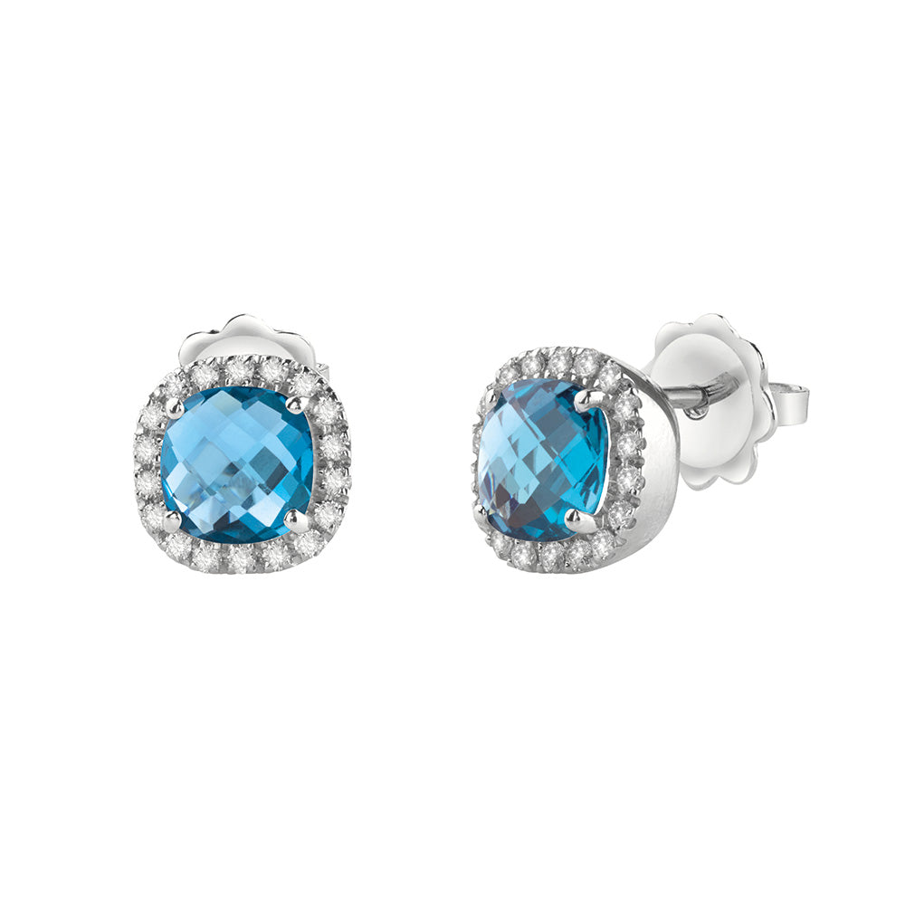 Salvini SORRENTO White Gold Earrings with Diamonds and Blue Topaz