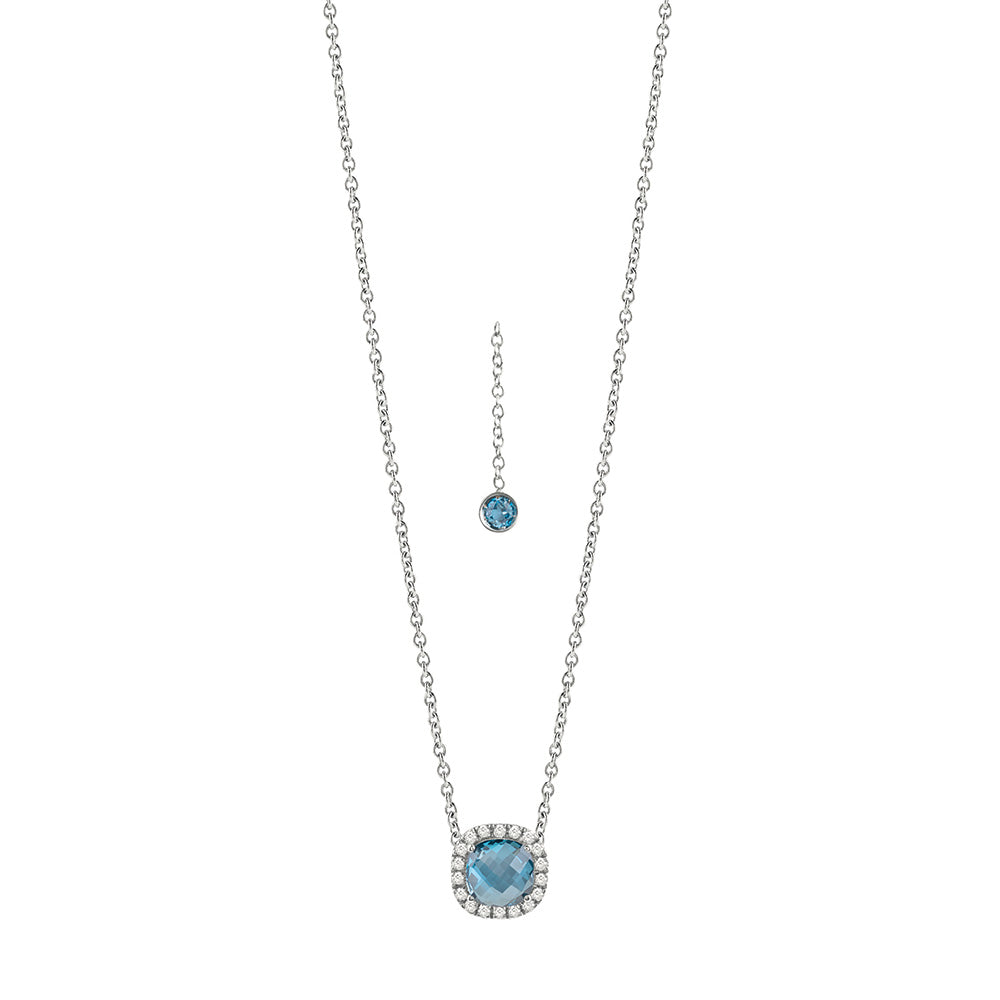 Salvini SORRENTO White Gold Necklace with Diamonds and Blue Topaz