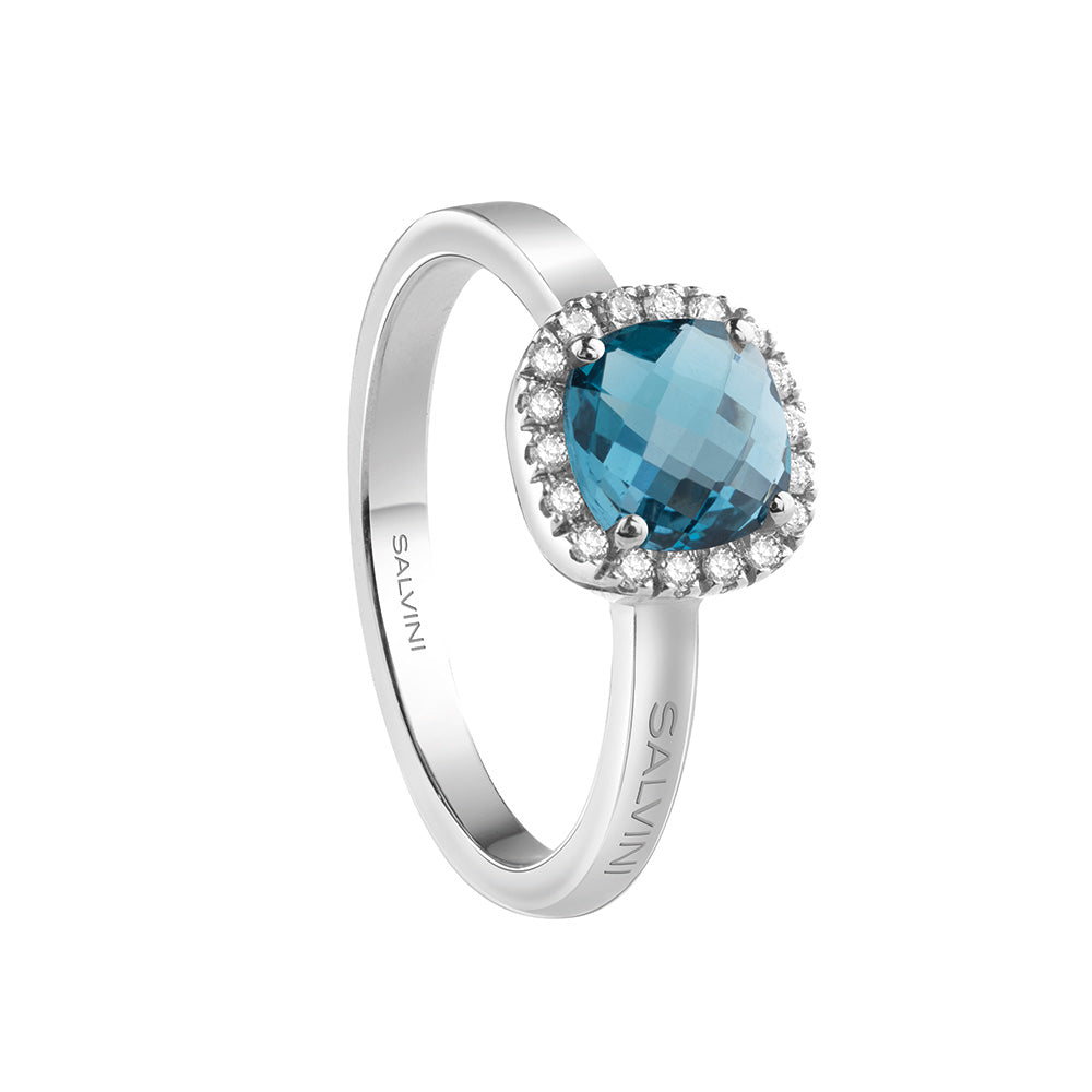 Salvini SORRENTO White Gold Ring with Diamonds and Blue Topaz