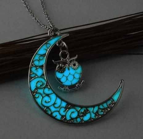 Glowing Stone Half Moon Owl Necklace