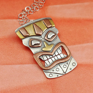 Moai Head Necklce with Flowers Handmade in Sterling Silver, Copper, and Brass
