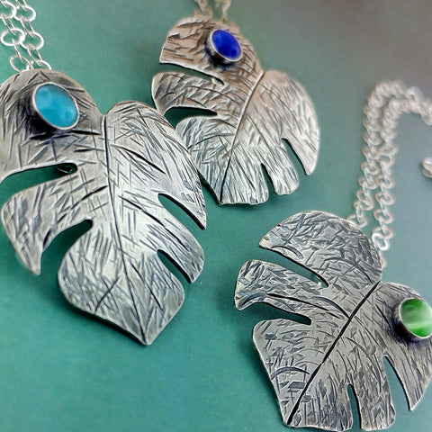 Sterling silver monstera leaf necklaces