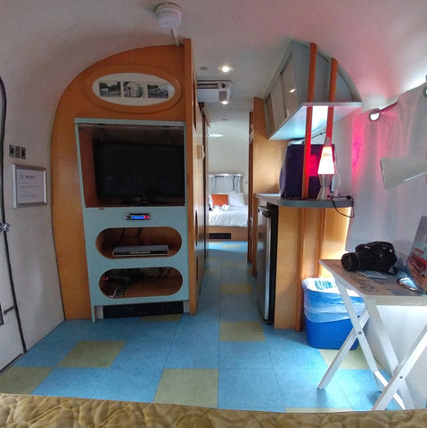 View of Tv, kitchen, and hallway in the Airstream at the Starlux Motel in Wildwood NJ