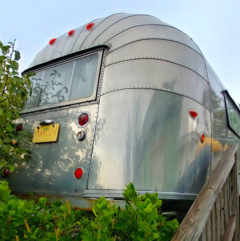 Rear view of the 1956 Airstream trailer at the Starlux Motel in Wildwood, NJ