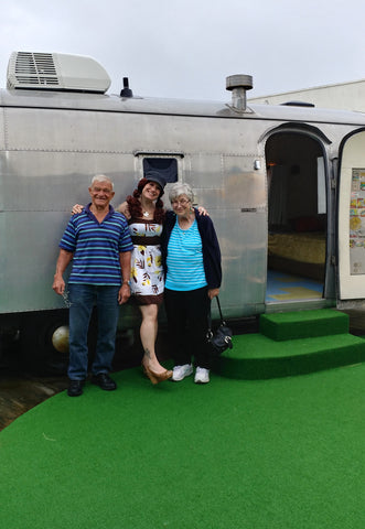 Pic of me, mom and dad outside the Airstream at the Starlux Motel in Wildwood, NJ