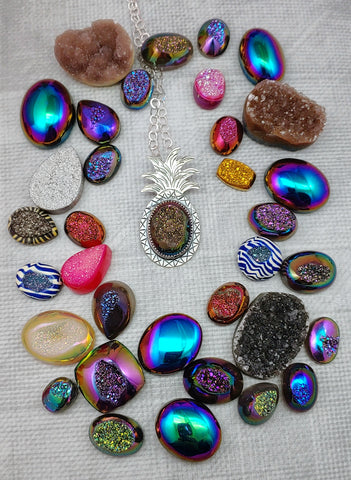 colorful druzy cabochons and a pineapple necklace