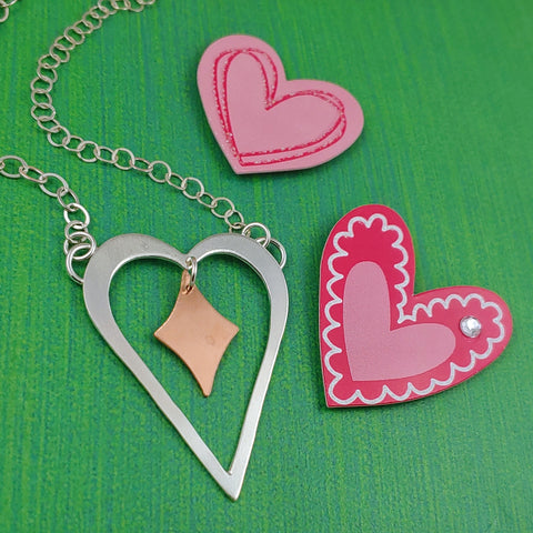 Sterling silver heart with retro diamond necklace
