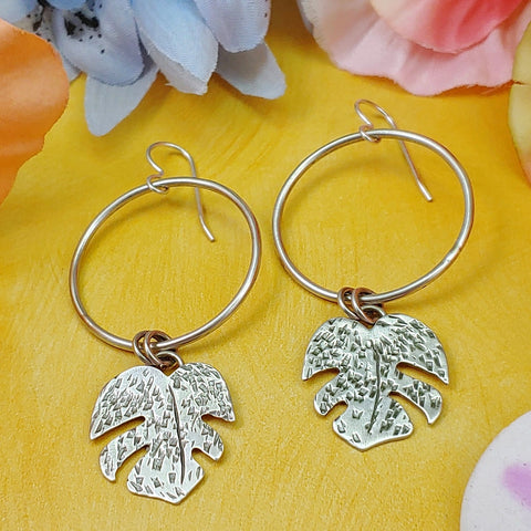 Sterling silver hoop with monstera leaf dangles