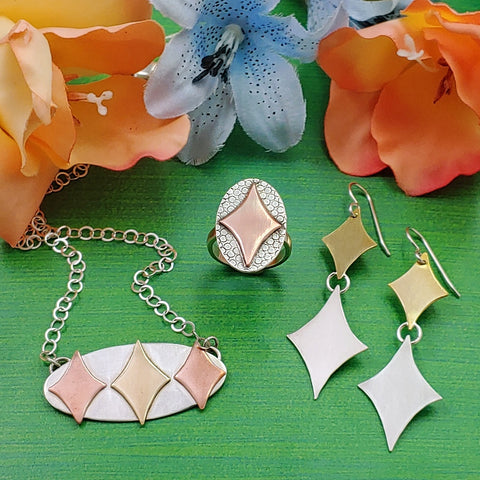retro diamond jewelry in sterling silver copper and brass