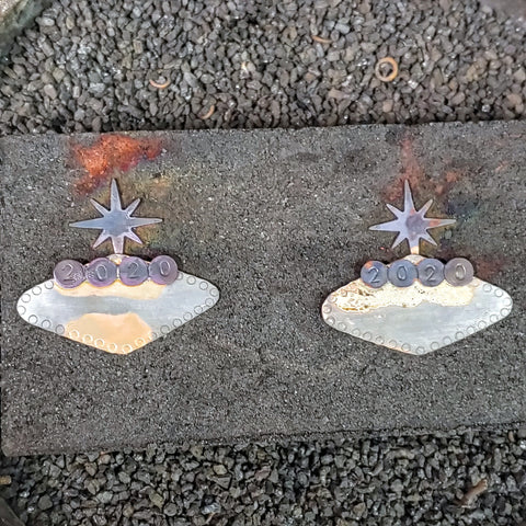 Tiki Tour 2020 earrings on the soldering block