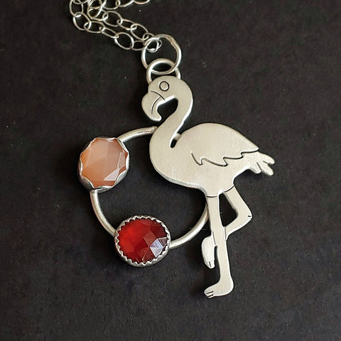 Flamingo with Garnet and Peach Moonstone
