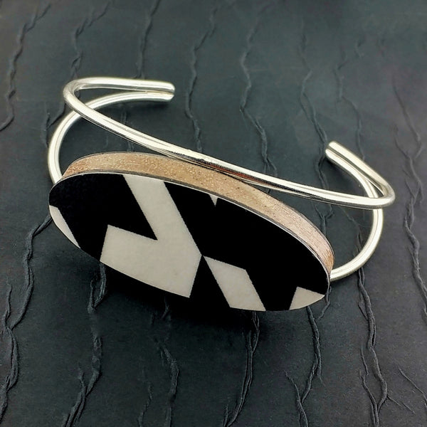 Black/White Mod Laminate Bracelet