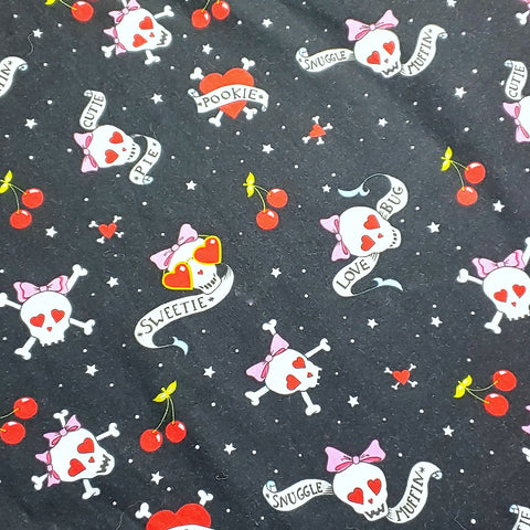 Skulls and Cherries Reversible Fabric Face Mask