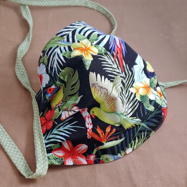 Tropical Tiki Birds & Flowers Reversible Fabric Face Mask