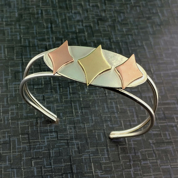 Retro Diamonds Sterling Silver, Copper, and Brass Bracelet