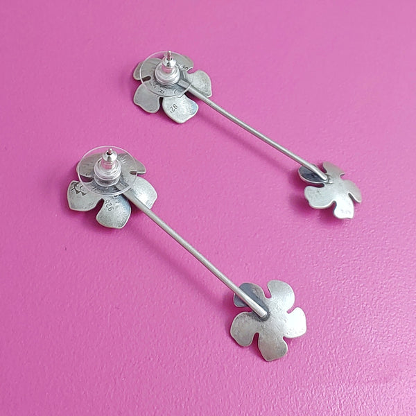 Sterling Silver Double Flower Dangle Earrings