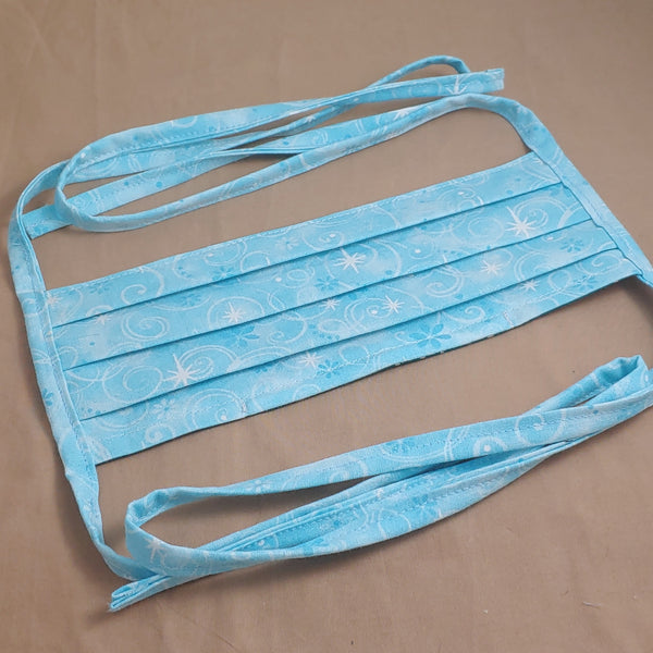 Teal Retro Stars Fabric Face Mask