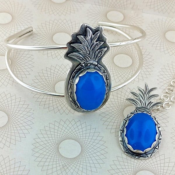 Blue Agate Pineapple Bracelet