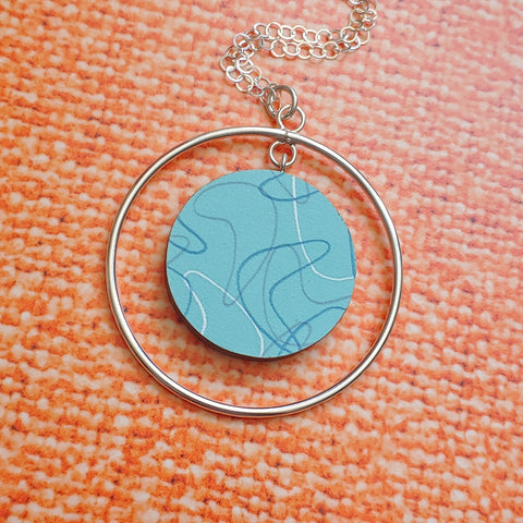 Custom Laminate and Sterling Silver Necklace