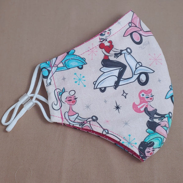 Retro Scooter Girls Fabric Face Mask
