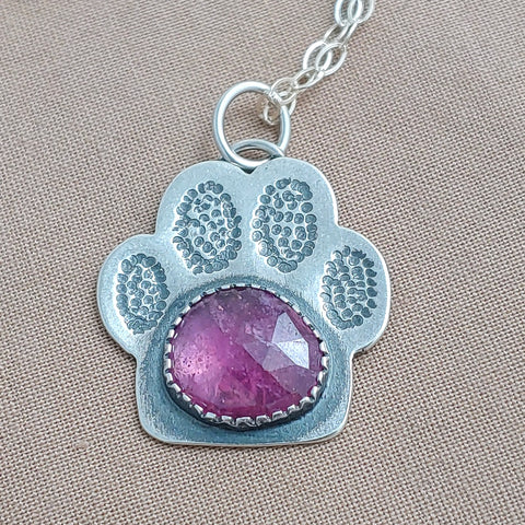 Paw Print Necklace - Ruby