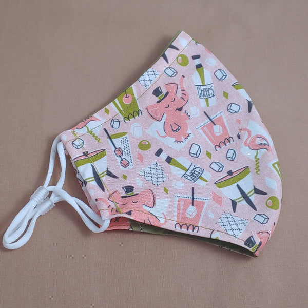 Tipsy Pink Elephants Fabric Face Mask