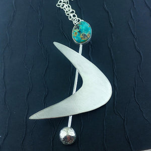 Sterling Silver Boomerang with Natural Kingman Turquoise