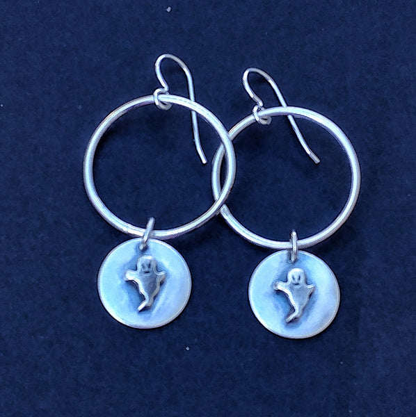 Halloween-y Sterling Silver Hoop Earrings with Charm Dangles