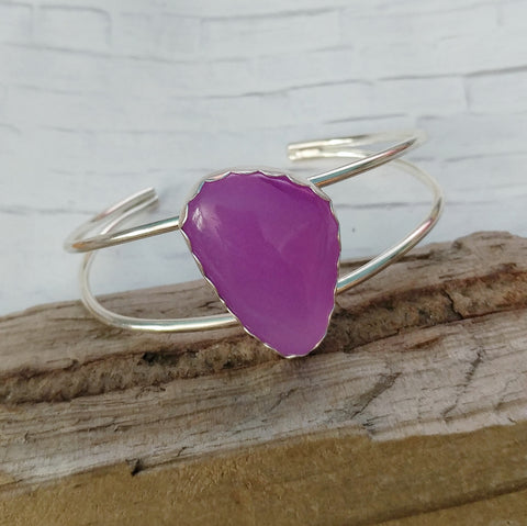 Sterling Silver Bracelet with Purple Jade