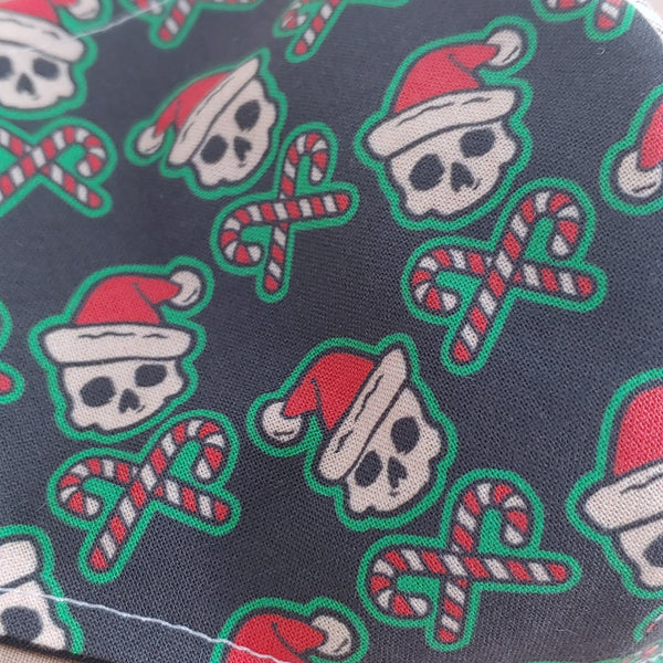 Santa Skull and Candy Cane Crossbones Fabric Face Mask