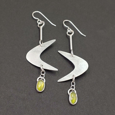 Sterling Silver Boomerang Earrings with Vesuvianite