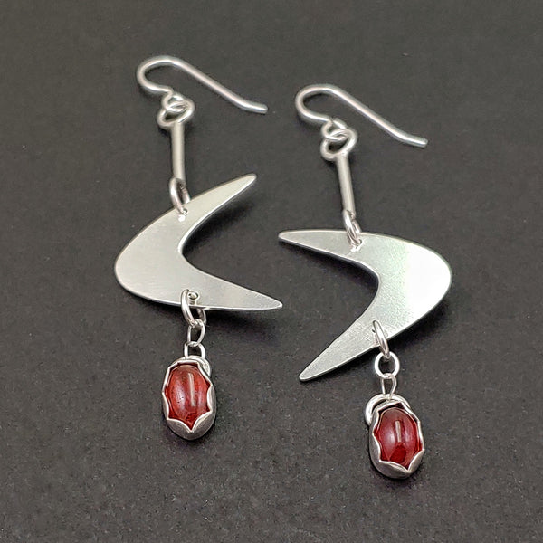 Sterling Silver Boomerang Earrings with Garnet