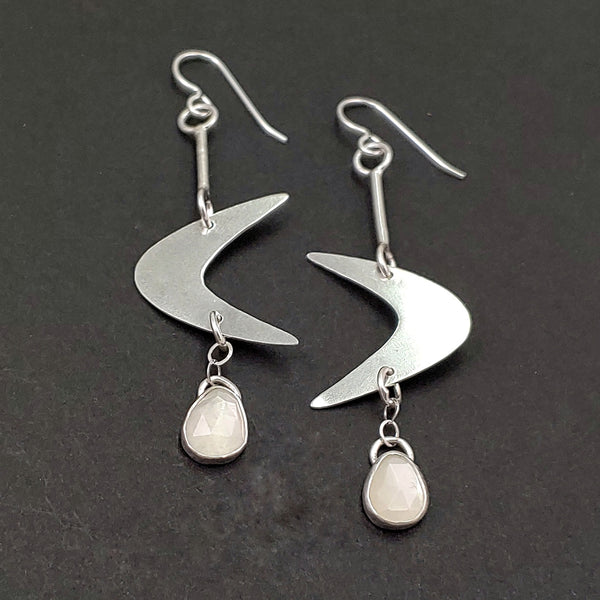 Sterling Silver Boomerang Earrings with Moonstone