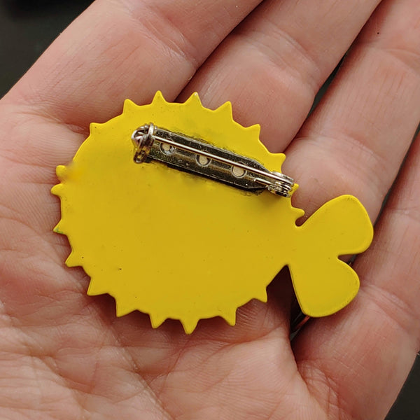 Puffer Fish Pin/Brooch - Yellow and Orange