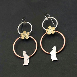 Double Circle Mixed Metals Moai Head Earrings