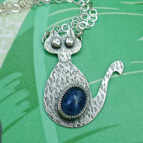 Mid-Mod Cat Necklace - CUSTOM ORDER with Kyanite