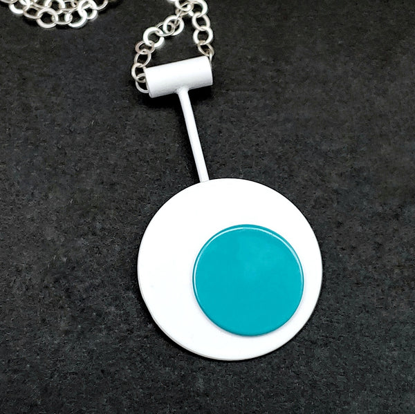 Retro Mod Necklace - White and Turquoise
