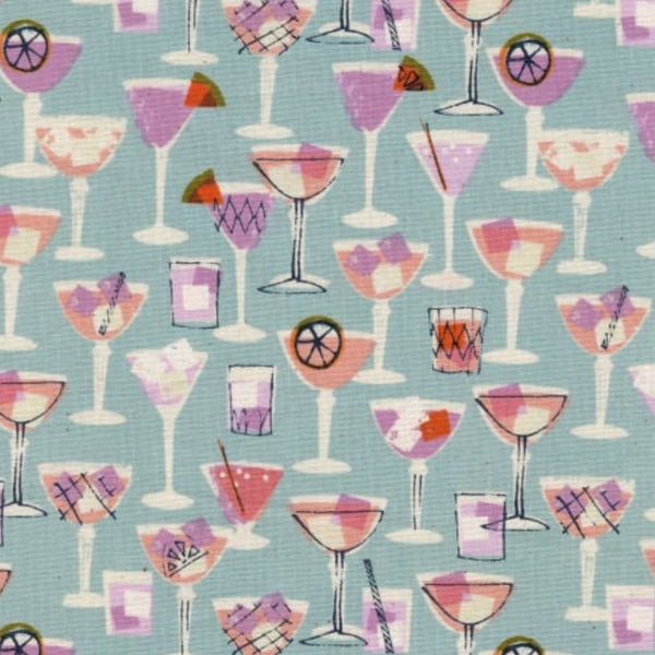 Cocktails on Light Blue Fabric Face Mask