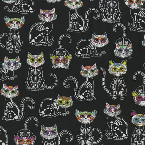 Cats Sugar Skulls Fabric Face Mask