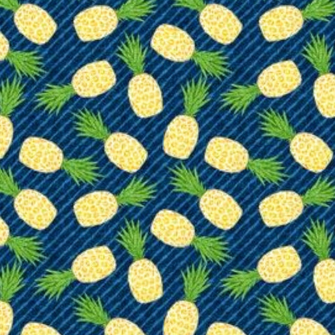 Pineapples on Navy Fabric Face Mask