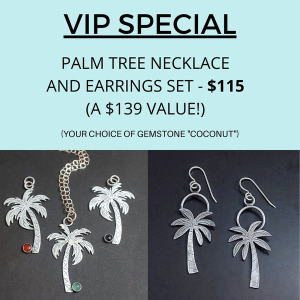 VIP SPECIAL - Palm Tree Necklace and Earrings Set