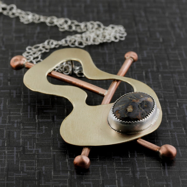 Brass, copper and fine silver abstract necklace inspired by the modernist jewelry, Frank Rebajes.