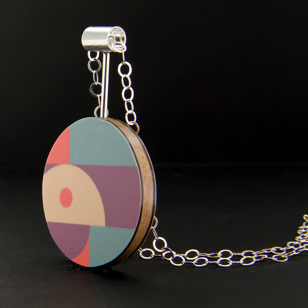 Colorful Abstract Pattern Laminate on Wood Sphere Necklace