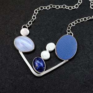 Abstract Blue Lace Agate and Laminate Necklace