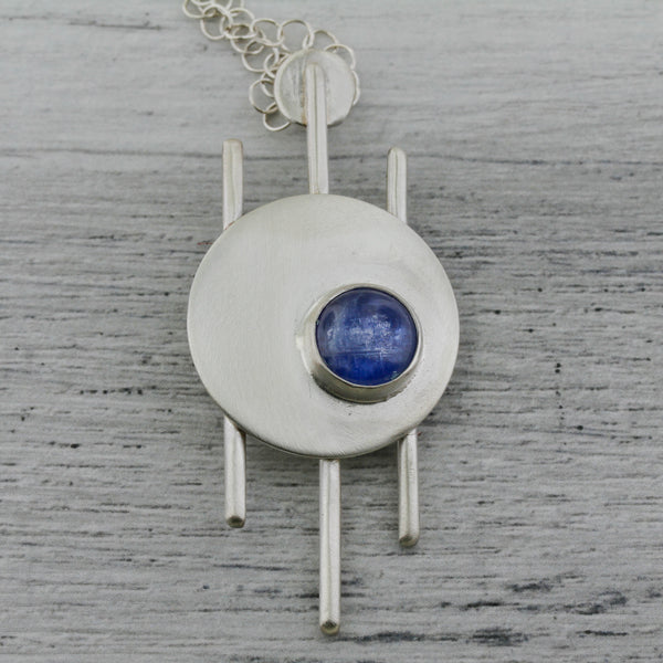 Kyanite and sterling silver modernist necklace