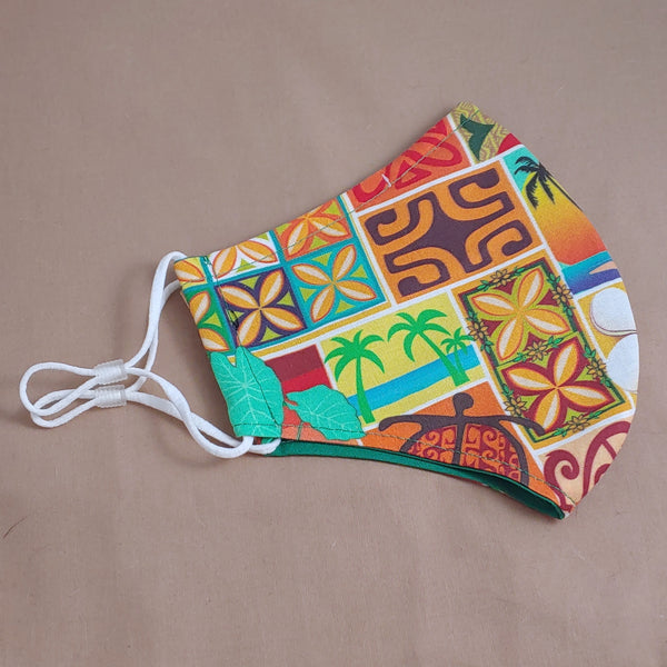 Orange Hawaiian Block Print Fabric Face Mask