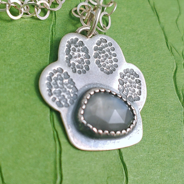 Paw Print Necklace - Grey Moonstone