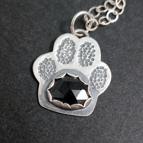 Paw Print Necklace - Black Onyx