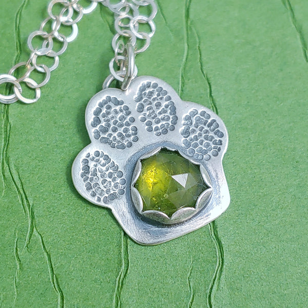 Paw Print Necklace - Vesuvianite